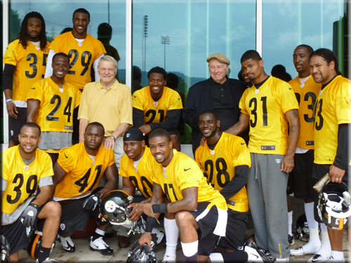 HOF Jack Butler and Art Rooney, Jr. stop by the Steelers Training Facility in June, 2012.  Jack met the defense who was thrilled to meet Jack and talk about what it was like in the old days.  Photo taken at the Steelers Training Facility courtesy of John Butler