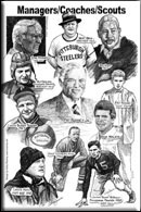montage of managers, coaches and scouts